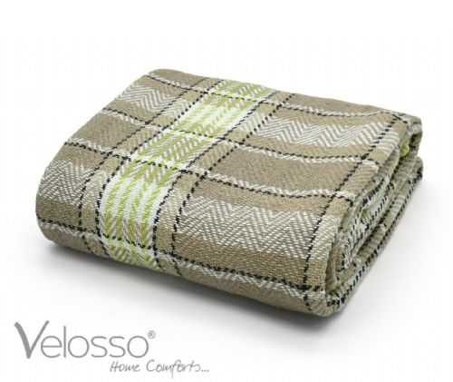 100% Cotton Throw Luxury Bourbon Tartan Check Highlands Sofa Bed Throwover Natural Lime